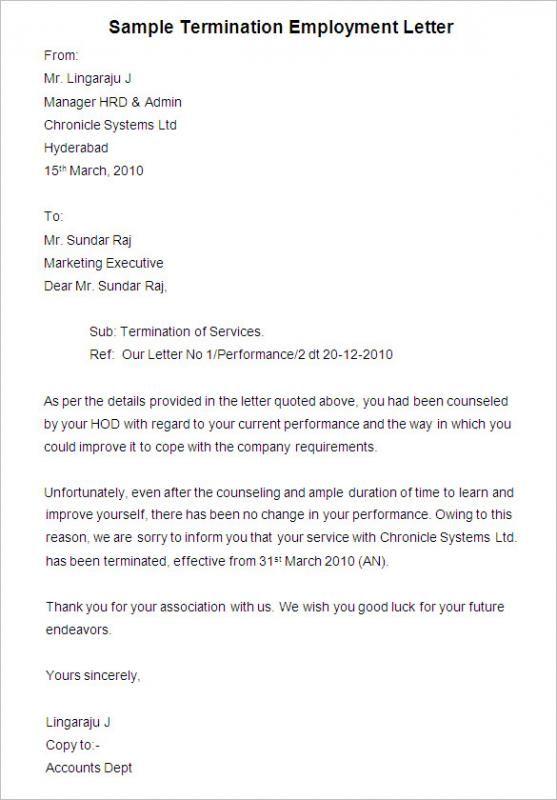Employee Termination Letter template Letter templates, Letter