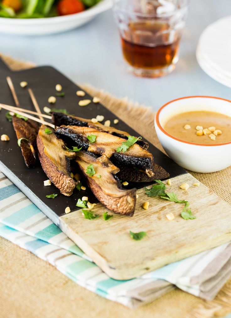Portabella Satay with Spicy Peanut Sauce for Super Bowl Parties