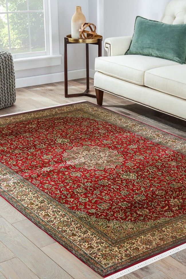 Buy Laal Kashan Jhoomar Rug Online At Best Price Silk On Silk