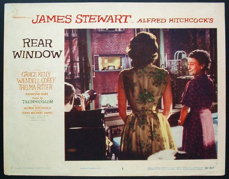 REAR WINDOW orig lobby card 1954 HITCHCOCK GRACE KELLY JAMES STEWART