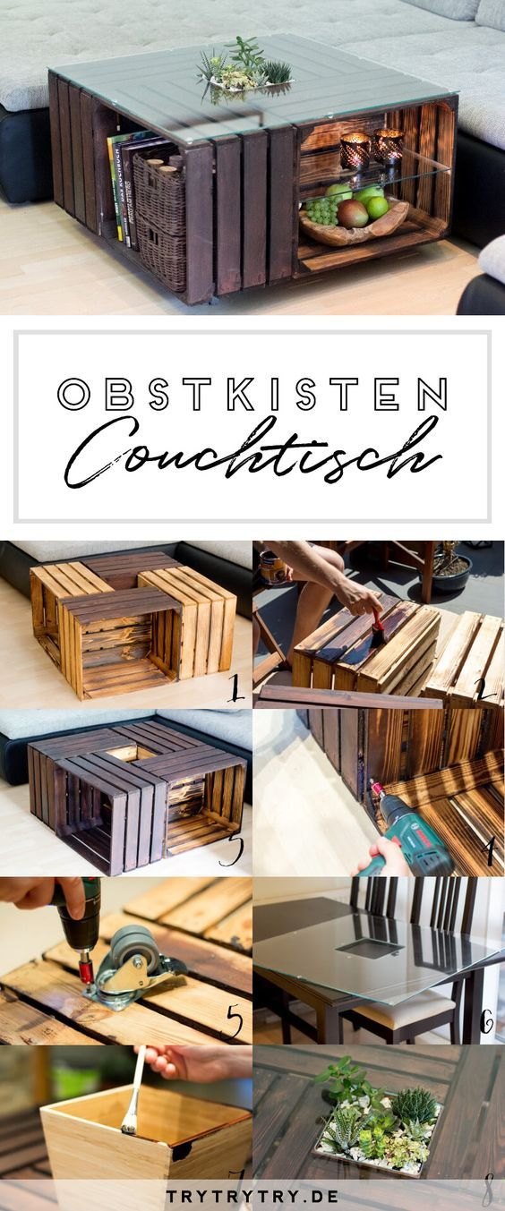 Couchtisch Aus Obstkisten Mit Glasplatte Diy Pinterest Table