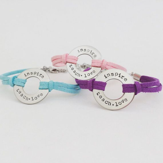 stamped washer bracelet: teach love inspire by TuTuCuteStamped