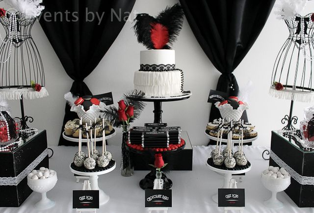 "Photo 1 of 15: Roaring 20's / Birthday ""Roaring 1920's Black, White and Red Dessert Table"" 