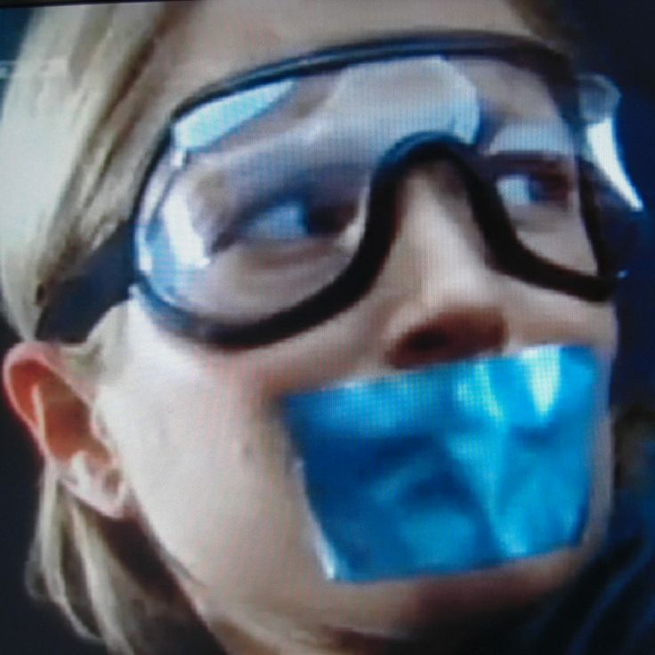 Florentine Lahm Duct Tape gagged and wearing Goggles