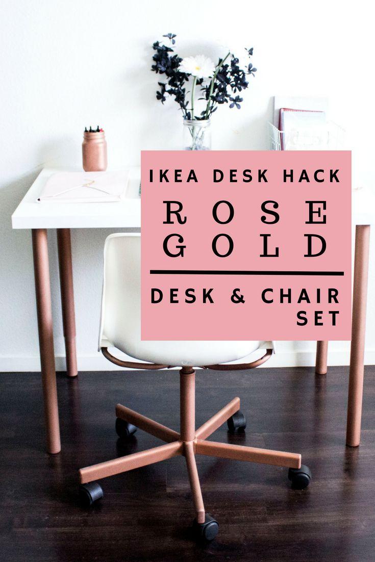 Diy Rose Gold Desk Chair Set Ikea Hack Rose Gold Room Decor Rose Gold Furniture Gold Desk Chair