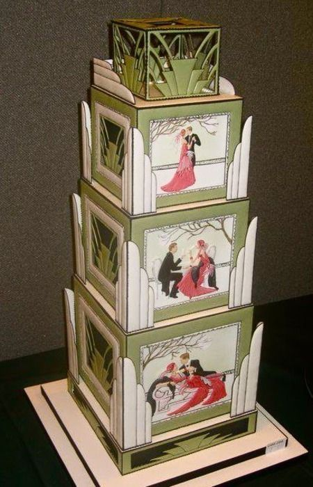 This is jaw-dropping amazing...Art Deco wedding cake