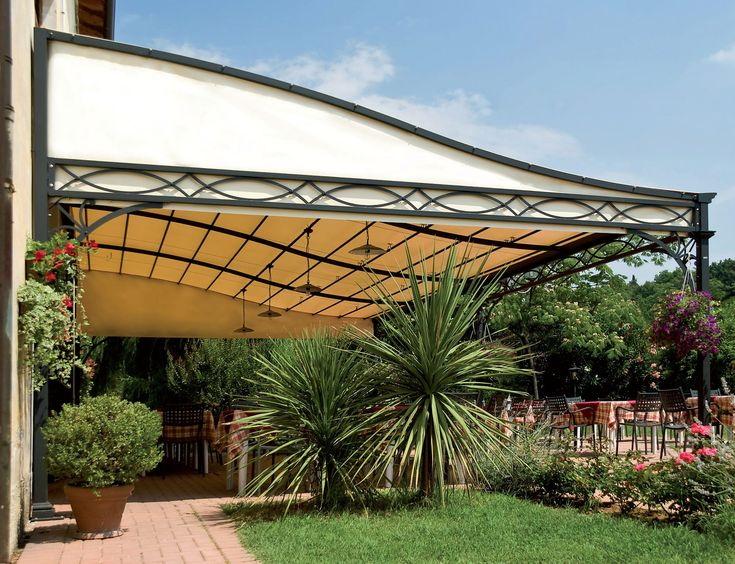 Wall Mounted Pergola / Wrought Iron / Fabric Canopy / Custom   MALATESTA    UNOSIDER