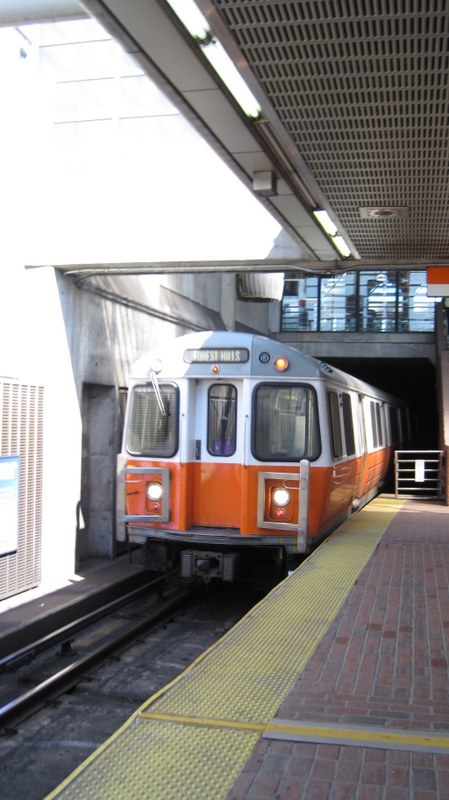 The Orange Line travels round-trip from Forest Hills to Oak Grove