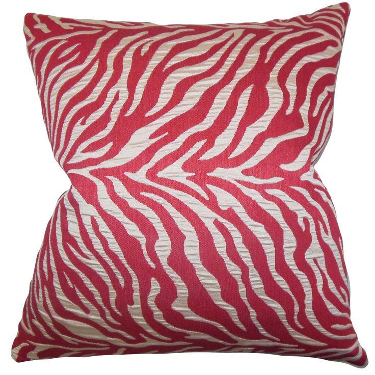 "Helaine Zebra Print 22"" x 22"" Down Feather Throw Pillow"