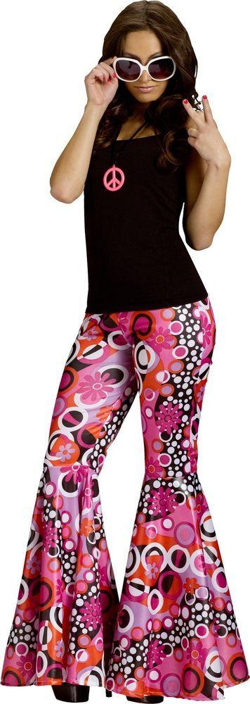 The Groovy 60's Adult Women Hippie Bell Bottoms Costume Accessories Pants #FunWorld #BellBottomPants