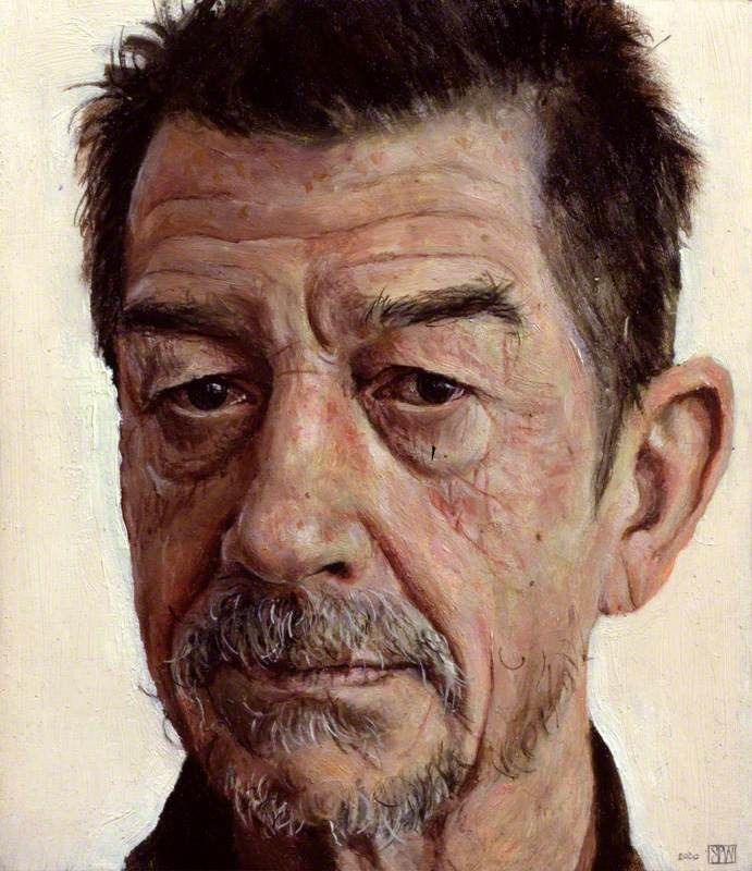 stuart pearson wright(1975- ), john hurt, 2000 oil on gesso on oak panel, 11 x 9.6 cm. national portrait gallery, london, uk http://www.bbc.co.uk/arts/yourpaintings/paintings/john-hurt