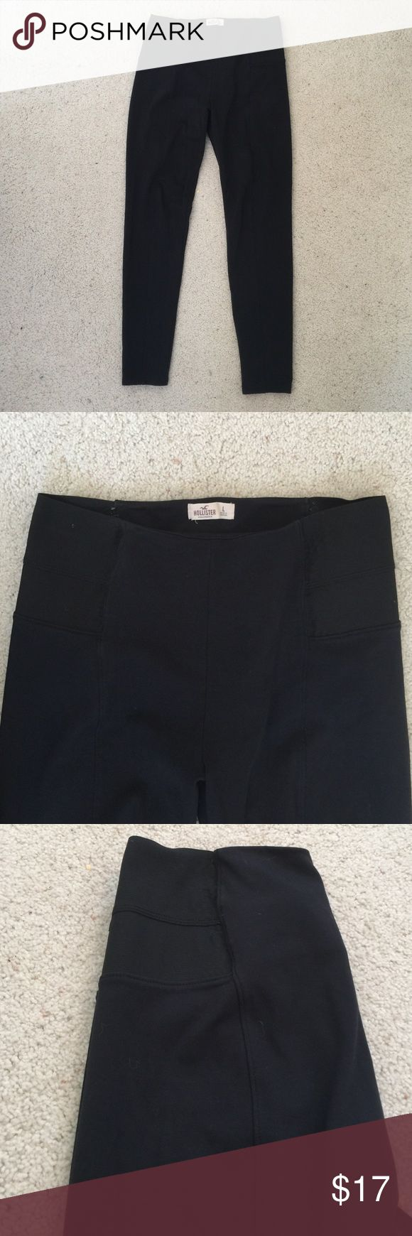 High waisted Hollister leggings in good condition High waisted leggings. There is a line on each leg in front and back. And an elastic band in the waist on each side. Only worn a couple of times Hollister Pants Leggings