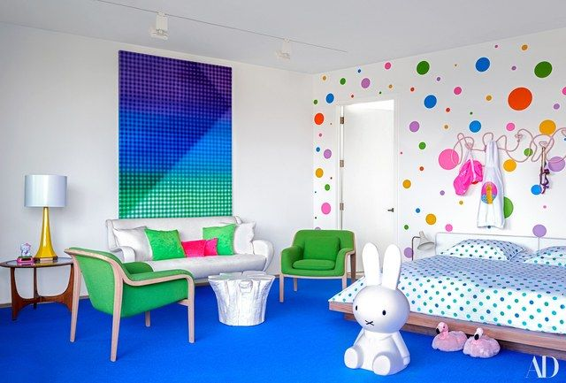 Ella stickered a wall in her bedroom with vinyl dots. Li Shurui artwork; Custom sofa in a Calvin fabrics linen blend; vintage Knoll plywood chairs; Adrian Pearsall side table; Miffy Bunny sculpture; Modloft bed.