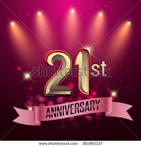 21st Anniversary, Party poster, banner or invitation - background glowing element. Vector Illustration. - stock vector