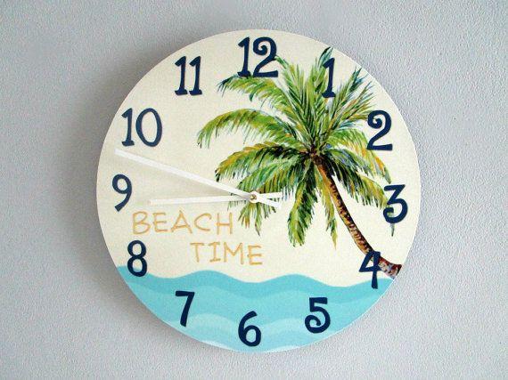 Beach decor wall clocks : Beach house wall clock tropical palm tree