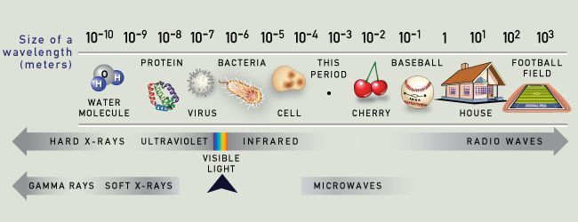 The visible light that humans perceive is a tiny fraction of the full electromagnetic spectrum.