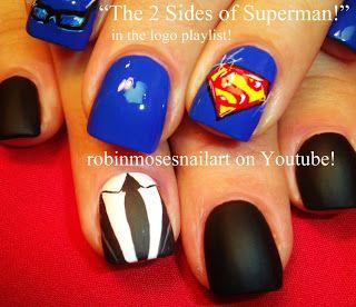 """Nail-art by Robin Moses:""""superman"""""""