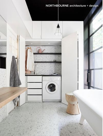 Northbourne Architects marble laundry / bathroom