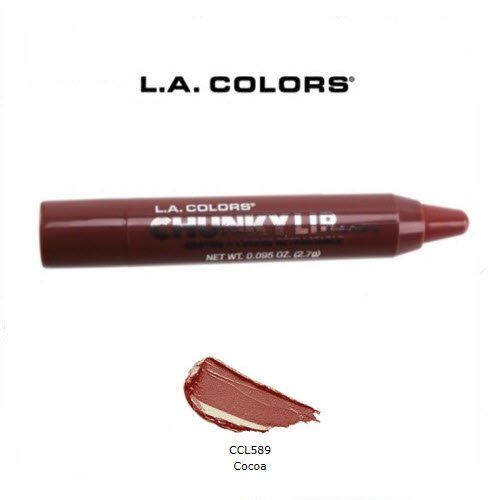 2 Pack L.A. Colors Cosmetics Chunky Lip 589 Cocoa. 589 Cocoa (2 Pack). Soft, creamy formula glides on smooth and moisturizes delicate lips while delivering gorgeous intense color. The perfect combination of a lipstick and lipgloss in a convenient retractable pencil - just twist and apply. 20 vanilla scented shades give lips a burst of color, from subtle nudes to bold brights.