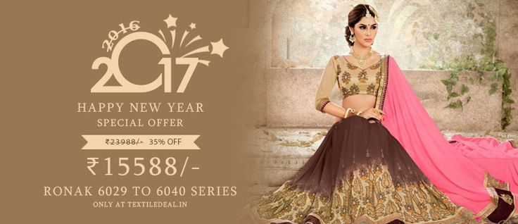 New Year Special Offer 35% Flat Off! Shop Now Designer Embroidered #EthnicSarees Catalogs by Ronak Wholesale only at @Textiledeals