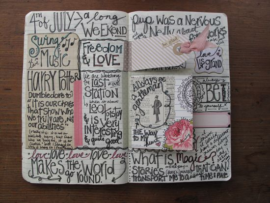 Watch how people take notes. Creativity can show up as non-linear notes.    seriously love her journaling style...