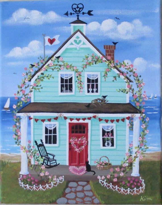 Corazones y flores casa arte popular impresión por KimsCottageArt
