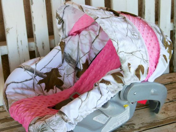 Realtree snow camo w/ baby pink car seat cover by SqueakyBugBabies