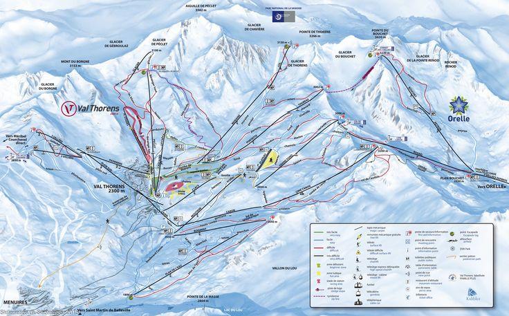 ❄ Updated #Val #Thorens Piste Map. #skiing ❄ ➽ See high resolution at http://www.skiferietips.dk/frankrig/val-thorens/pistekort