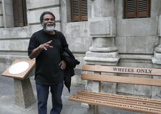 """The Bench of Thoughts, outside the Race Classification Appeal Board. A memorial to the specific and far-reaching laws of #apartheid. #capetown #southafrica  """"Roderick Sauls, the artist behind the memorial, wanted to draw attention to one of the ways in which the race classification law was applied, and he also wanted to give passers-by something to contemplate."""""""