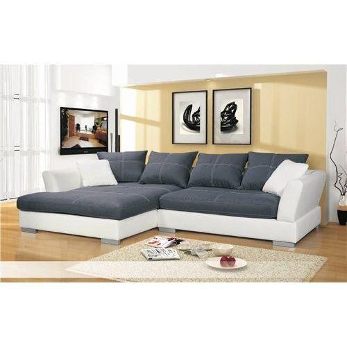 Canapé d'angle en cuir pu et microfibre wanda gris et blanc Angle gauche - Simili cuir - 7 places - Canapé d'angle : en vente sur RueDuCommerce