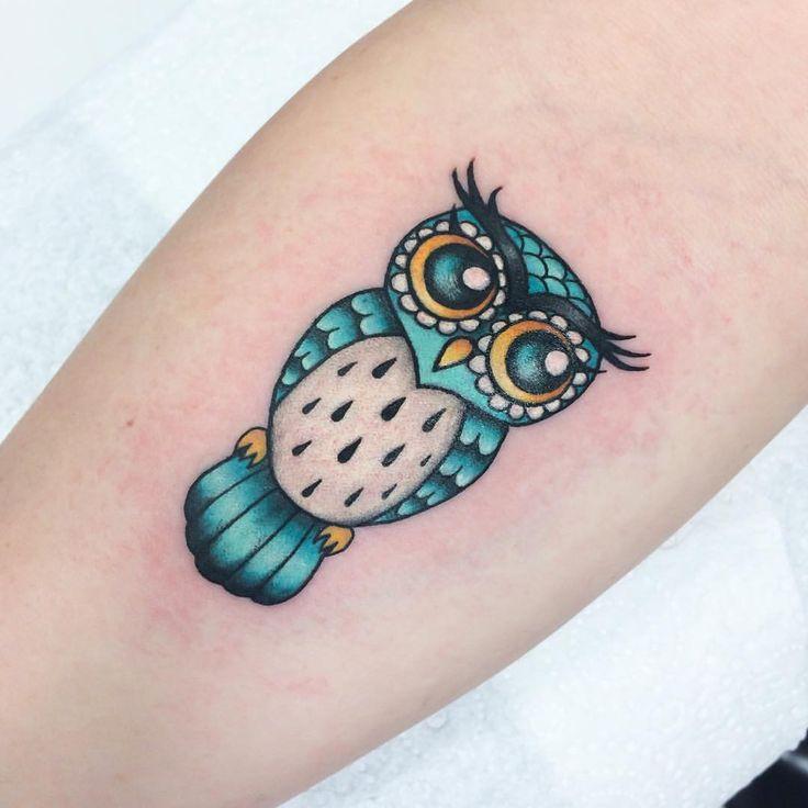 Little owl tattoo for Tasha! @tattooedwarriortattoostudio #owltattoo #owl #tattoos  (at Tattooed Warrior Tattoo Studio)