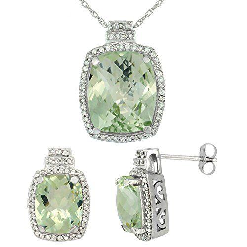 9ct Weiß Gold Natural Octagon Kissen Green Amethyst Ohrringe & Anhänger Set Di…