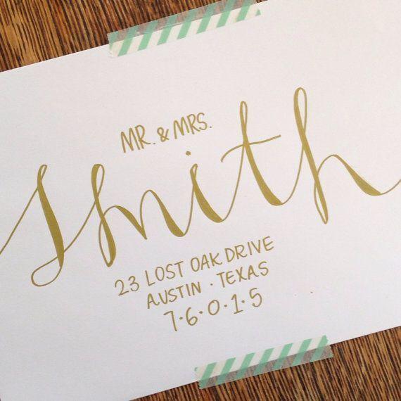 hand addressing wedding invitations