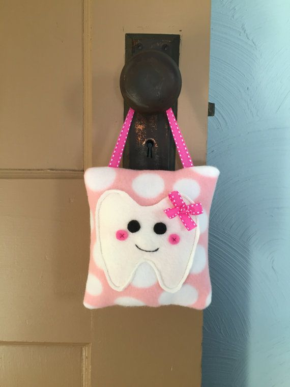Handmade Pink Polka Dot Tooth Fairy Pillow by BabyRuthsBoutique