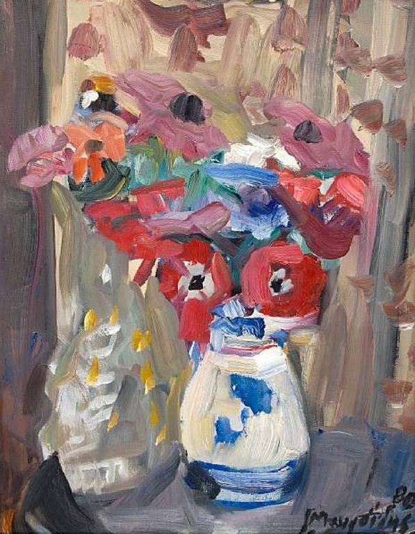 .:. Μαυροϊδής Γιώργος – Giorgos Mavroidis [1912-2003] Still life with flowers, 1980