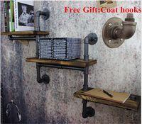 Американский эстакад, Кованого железа стенки трубы ретро фон лесной промышленности водоотделителем стены Shelves-Z15