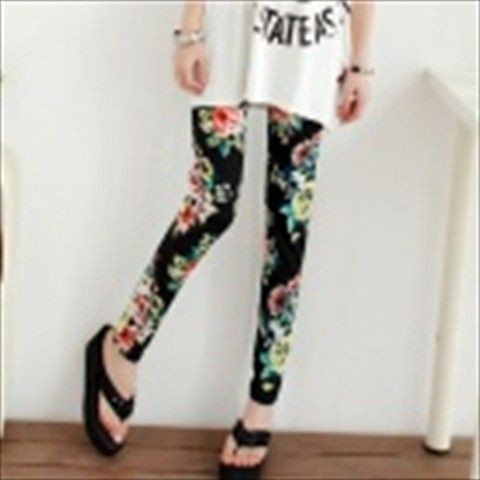 44ss3 Woman's Fashionable Floral Pattern Ninth Skinny Leggings Pants - Black + Multocolored $11.31