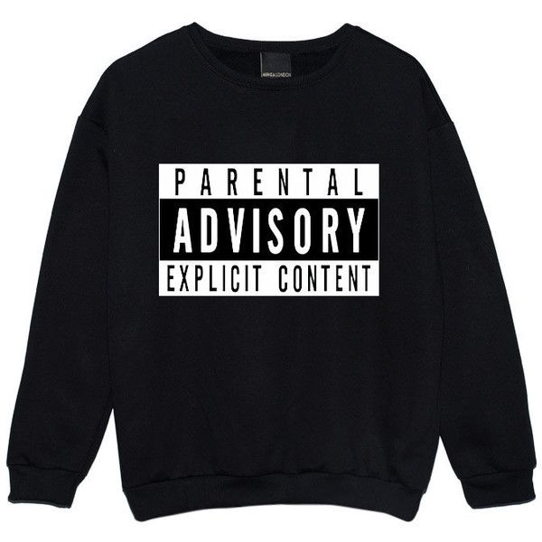 Parental Advisory Sweater Jumper Womens Ladies Fun Tumblr Hipster Swag... ($22) ❤ liked on Polyvore featuring tops, hoodies, sweatshirts, sweaters, shirts, black, women's clothing, punk tops, star sweatshirt and hipster shirts