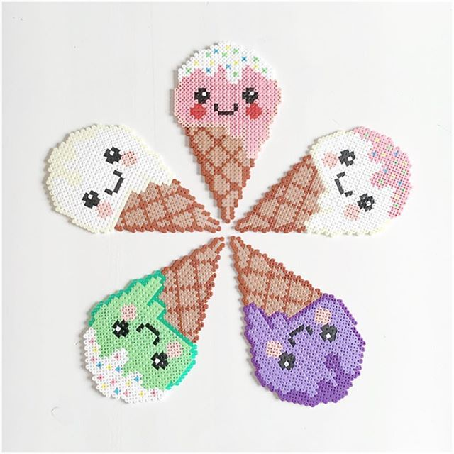 Kawaii ice cream hama beads by elisabeth_krogseter
