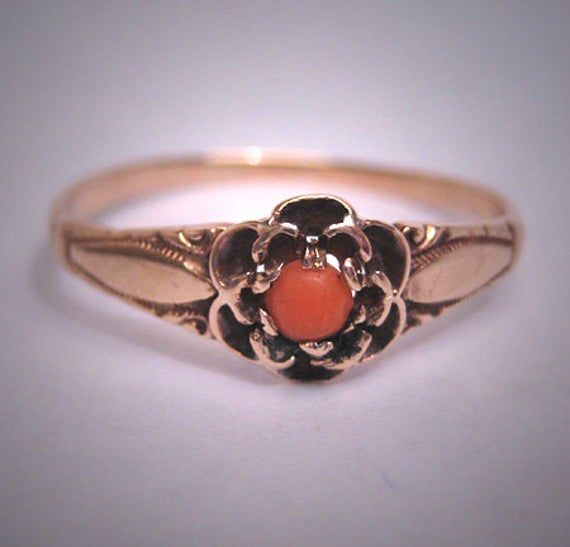 Antique Coral Gold Ring Wedding Band Victorian 19th Century Etsy In 2020 Gold Band Wedding Ring Wedding Ring Bands Antique Wedding Rings Victorian