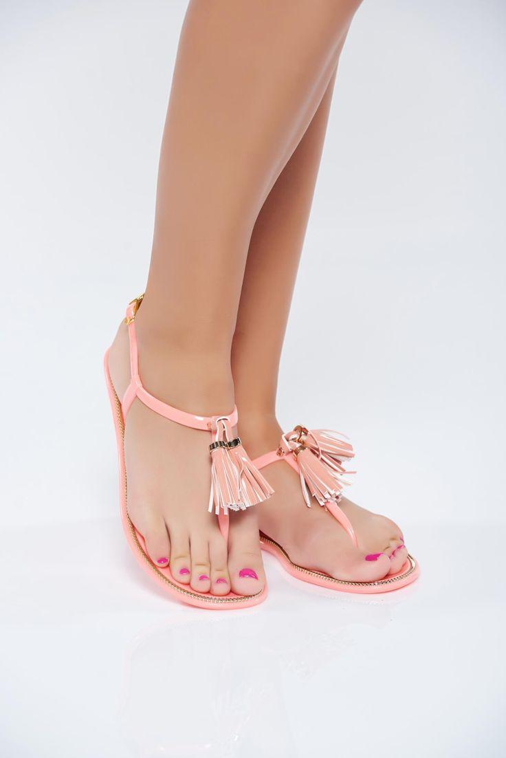 Comanda online, Sandale casual portocalii cu talpa joasa cu franjuri. Articole masurate, calitate garantata!