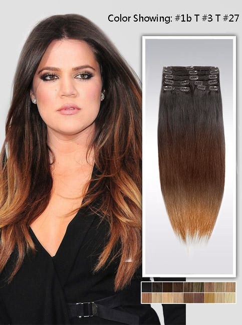 20 Three Colors Ombre Indian Remy Clip In Hair Extension Uso520 8 Pcs