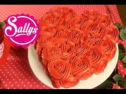 einfache Rosentorte / Rose Cake Tutorial / Valentinstag / Sally in Love - YouTube