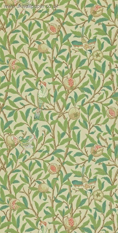 Bedroom ~ William Morris Wallpaper-Bird and Pomegranate 212540