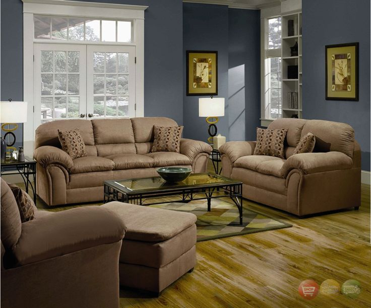 Casual Country Living Room Furniture | ... Tan Casual Soft Microfiber Sofa & Love Seat Living Room Furniture Set