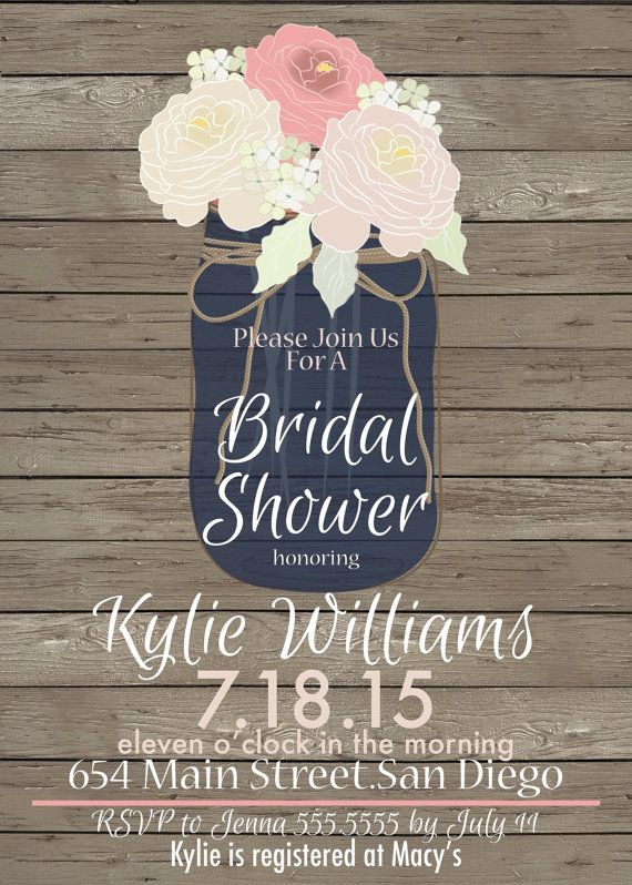 Navy Blue Mason Jar Bridal Shower Invitation by 4414Designs