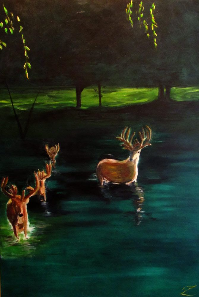 "Series: #SaveOurCoast Title: Deer in Water #1 Media: Oil on Canvas Size: 30"" x 36"" Price: $500 Cdn"