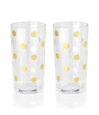 Want 8 Glass Gold Dot Hiball Glasses at Dillards