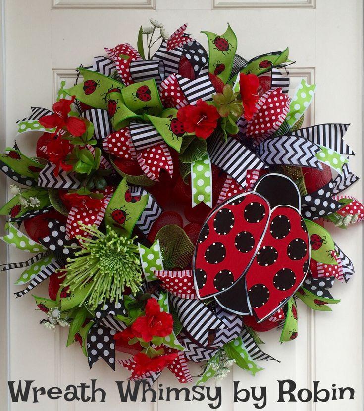 Deco Mesh Ladybug Spring/Summer Red, Black & Lime Green Wreath, Front Door Wreath, Ladybug Decor, Mother's Day, Modern Wreath, Whimsical by WreathWhimsybyRobin on Etsy
