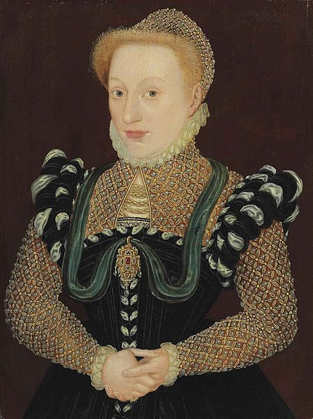 Portrait of a Lady in a black dress with embroidered sleeves, partlet, and cap, Attributed to the Master of the Countess of Warwick